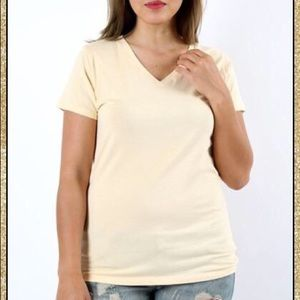 Tops - 'Would You Ever' Heather Beige Top (CURVY)